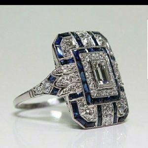 Art Deco Blue Sapphire &Diamond Sterling Silver